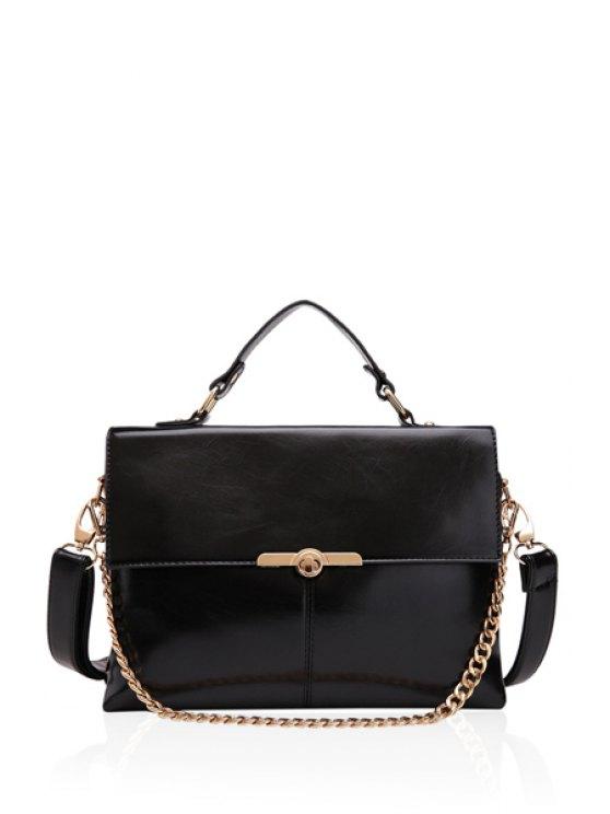 women's Solid Color Metallic Chain Tote Bag - BLACK