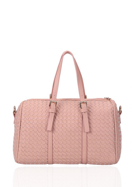 latest Weaving Buckle Solid Color Tote Bag - PINK
