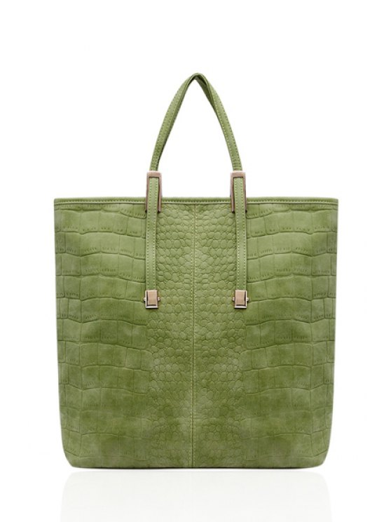 new Metallic Stone Print Suede Tote Bag - APPLE GREEN