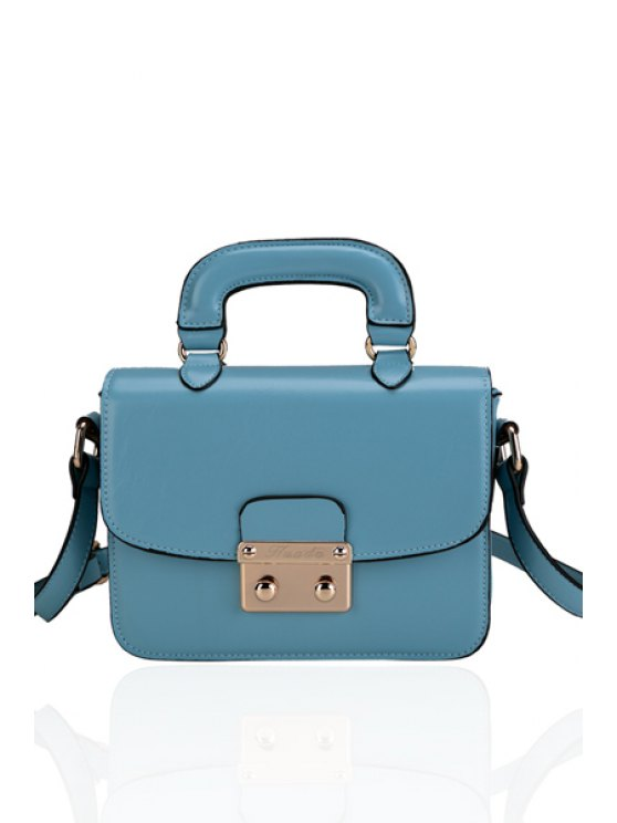 outfits Candy Color Metallic Crossbody Bag - LIGHT BLUE