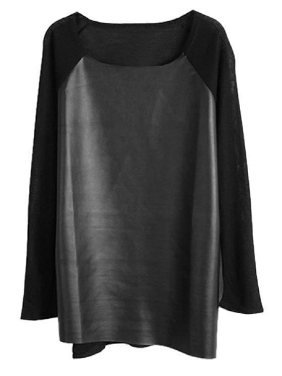latest PU Leather Splicing Knitwear - BLACK XS