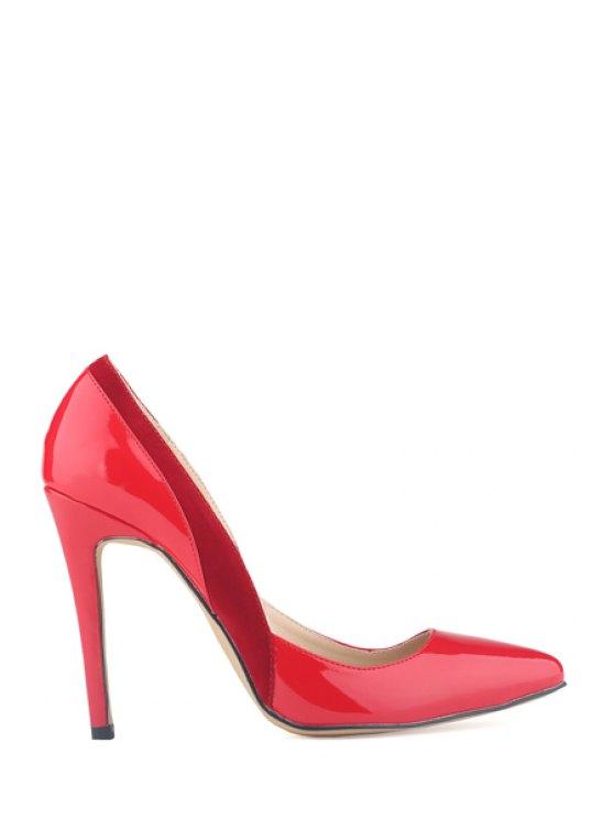 latest Patent Leather Splice Stiletto Heel Pumps - RED 36