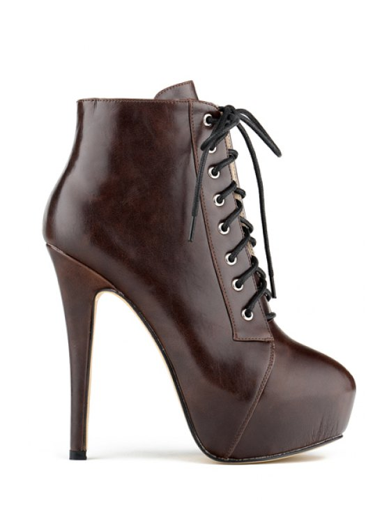 ladies Sexy High Heel Lace-Up Ankle Boots - COFFEE 35