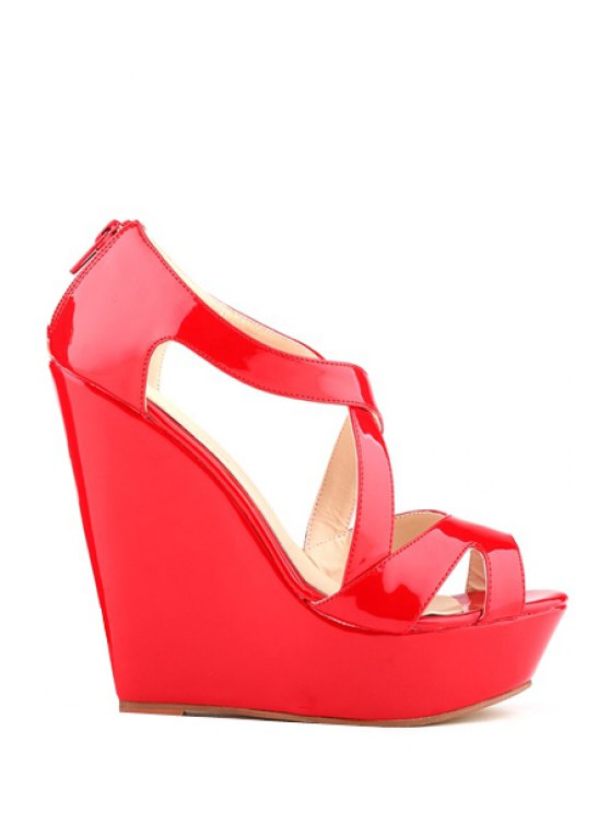 buy Criss-Cross Patent Leather Wedge Heel Sandals - RED 35