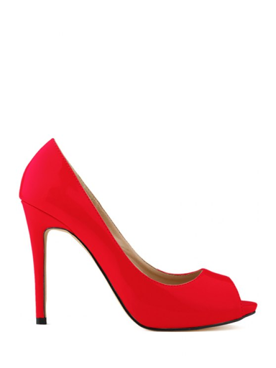 hot Sexy High Heel Patent Leather Shoes - RED 36