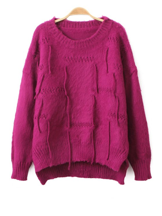 online Solid Color High Low Hem Sweater - PURPLISH RED ONE SIZE(FIT SIZE XS TO M)