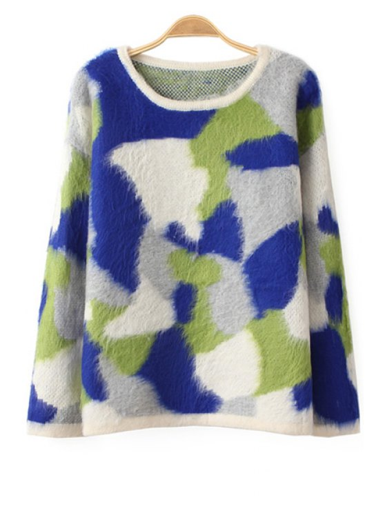 unique Camouflage Pattern Mohair Sweater - SAPPHIRE BLUE ONE SIZE(FIT SIZE XS TO M)