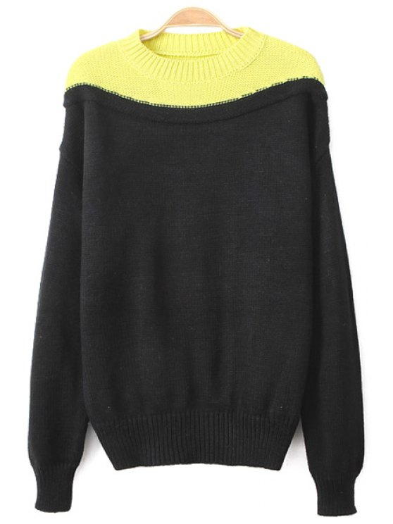 womens Color Block Round Collar Sweater - BLACK ONE SIZE(FIT SIZE XS TO M)