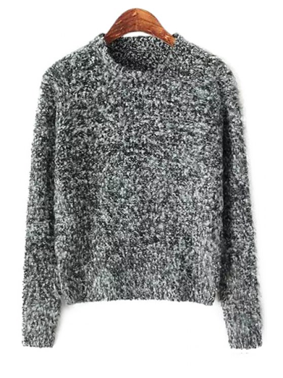 online Long Sleeve Color Mixed Sweater - GRAY ONE SIZE(FIT SIZE XS TO M)