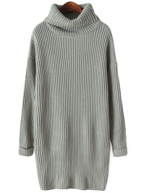 shop Turtle Neck Solid Color Sweater Dress - GRAY ONE SIZE(FIT SIZE XS TO M)