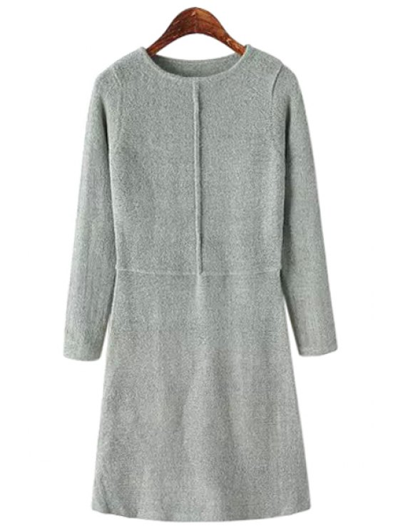 latest Solid Color A-Line Sweater Dress - GRAY ONE SIZE(FIT SIZE XS TO M)