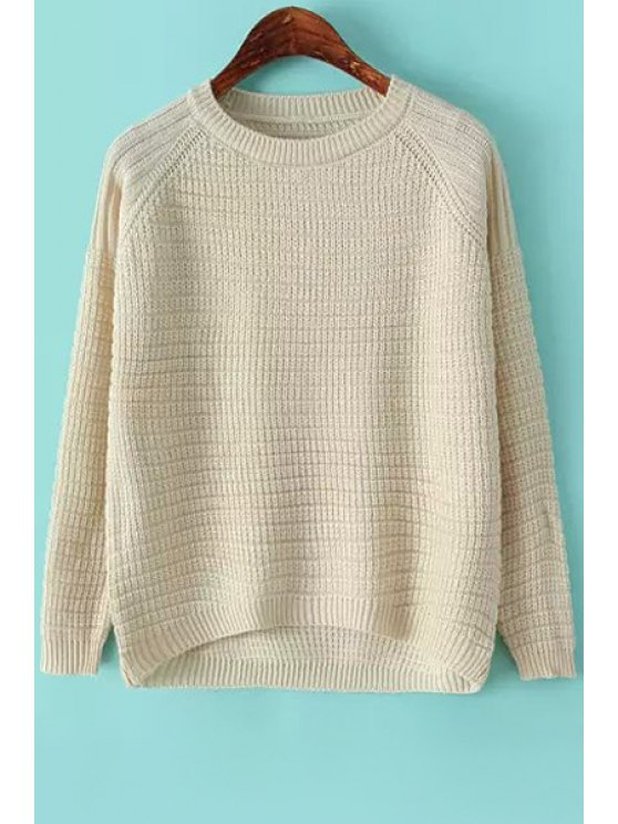 unique Jewel Neck Solid Color Sweater - WHITE ONE SIZE(FIT SIZE XS TO M)
