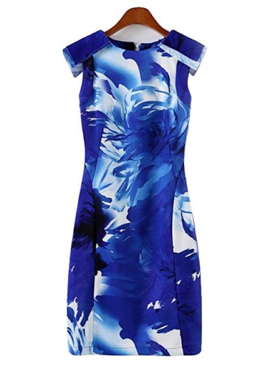 chic Floral Print Sleeveless Dress - BLUE S