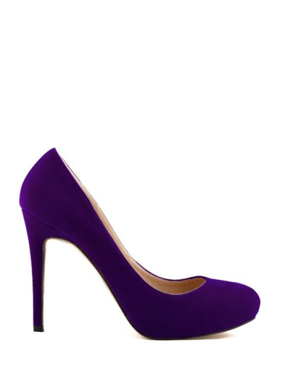 shops Stiletto Heel Suede Solid Color Pumps - PURPLE 35