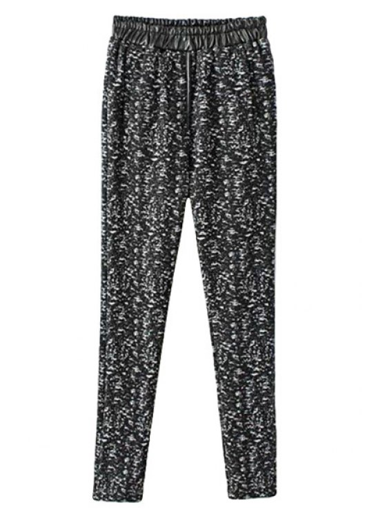 hot Print PU Leather Splicing Pants - BLACK S