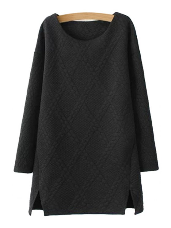 affordable Solid Color Argyle Dress - BLACK S