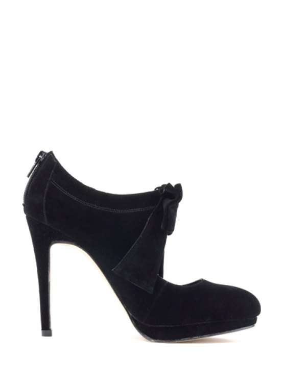 buy Suede Bowknot Hollow Out Pumps - BLACK 36