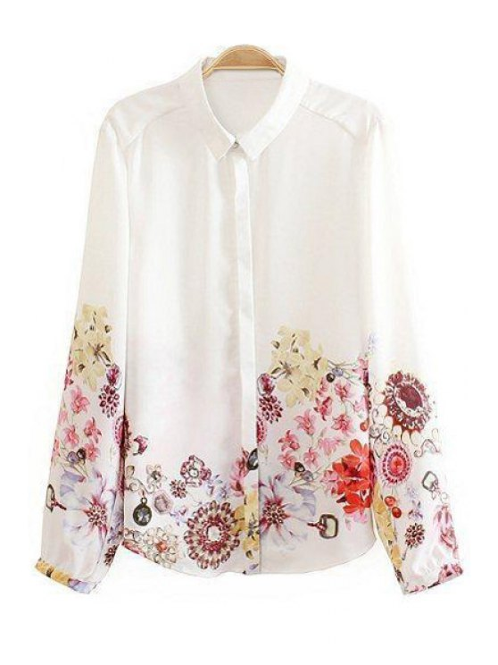 latest Floral Long Sleeve Chiffon Shirt - WHITE S