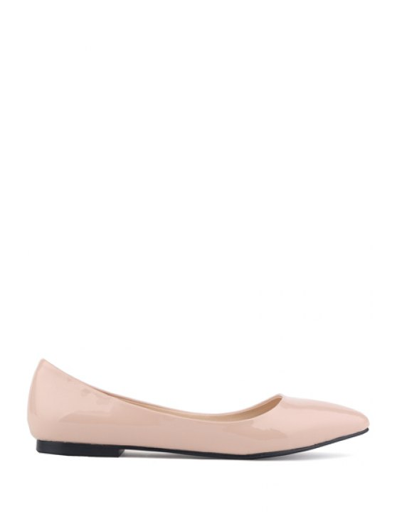 shop Patent Leather Pointed Toe Flat Shoes - APRICOT 34