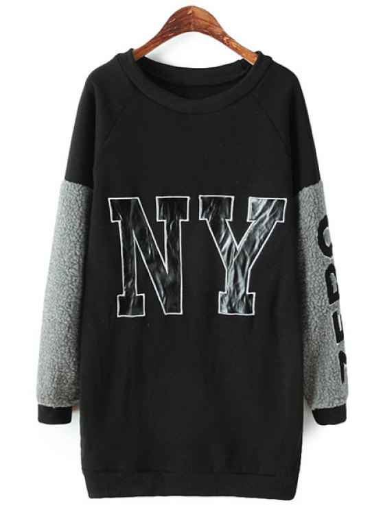sale Letter Pattern Splicing Sweatshirt - BLACK ONE SIZE(FIT SIZE XS TO M)