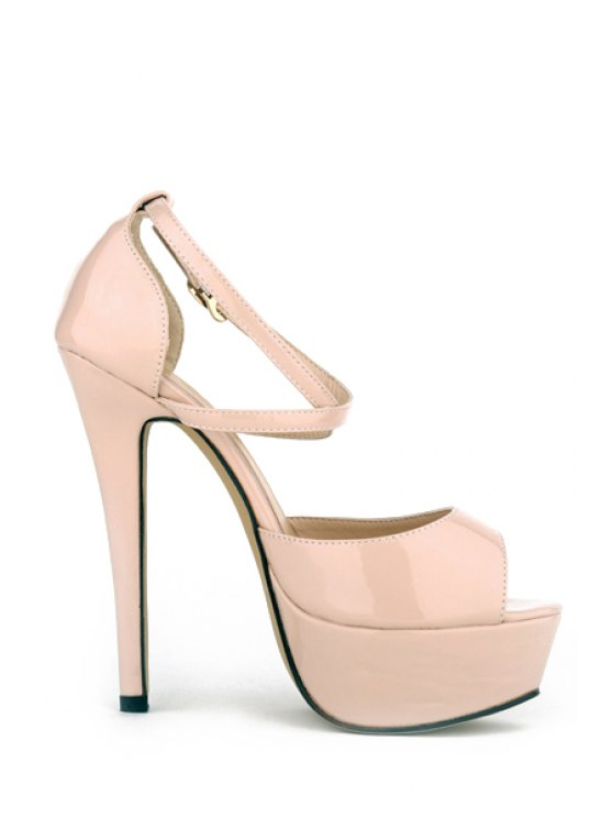 outfits Patent Leather Cross-Cross Platforn Sandals - APRICOT 37