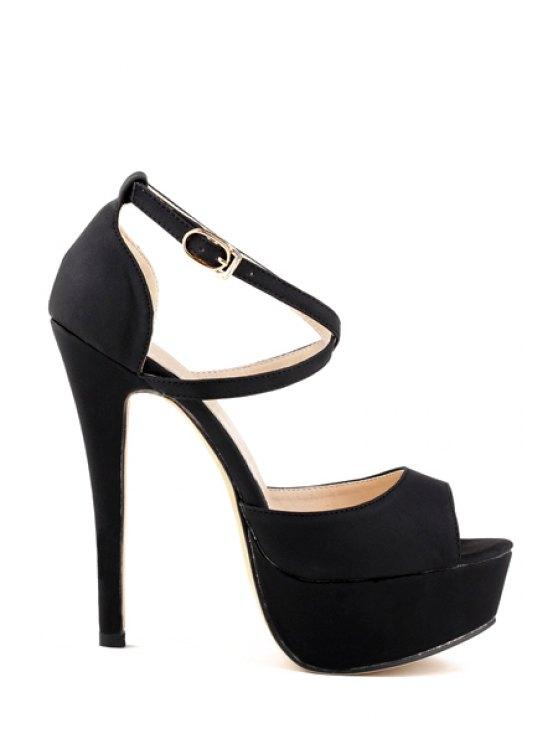 unique Platform Criss-Cross Stiletto Heel Sandals - BLACK 35