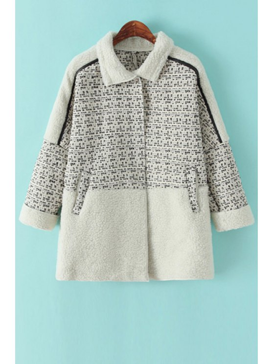 buy Lamb Wool Splicing Coat - WHITE ONE SIZE(FIT SIZE XS TO M)