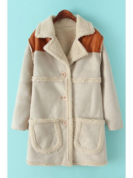 womens Lapel Lamb Wool Splicing Coat - OFF-WHITE ONE SIZE(FIT SIZE XS TO M)