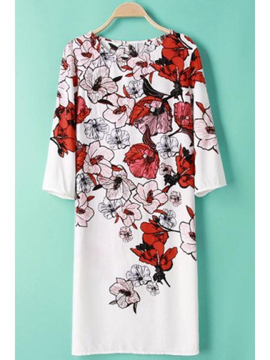 chic 3/4 Sleeve Floral Print Dress - WHITE S