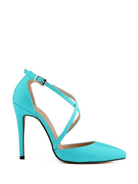 outfit Patent Leather Criss-Cross Buckle Pumps - BLUE 37