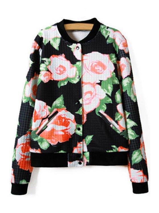 shop Floral Print Long Sleeve Jacket - BLACK S