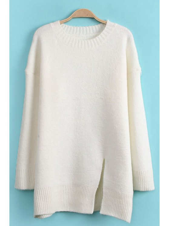 latest Side Slit Solid Color Sweater - WHITE ONE SIZE(FIT SIZE XS TO M)