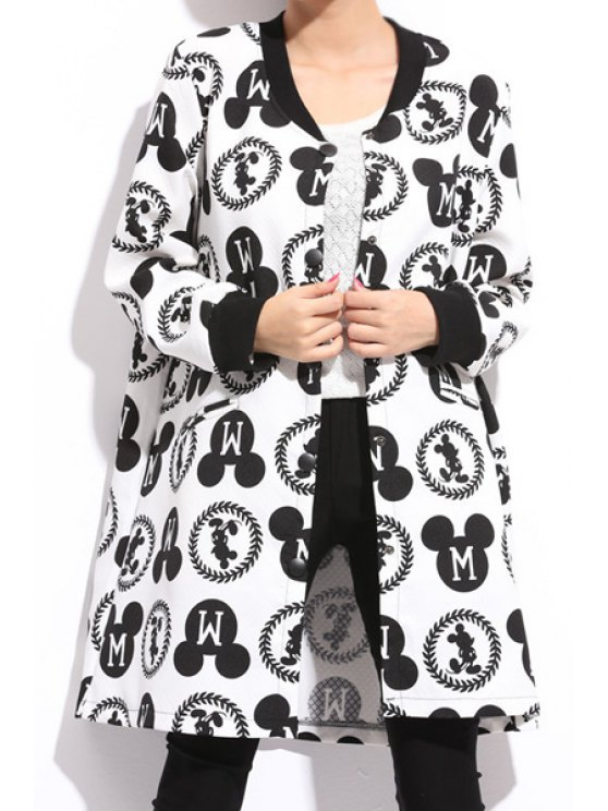 lady Cartoon Print Stand Collar Coat - WHITE AND BLACK XL