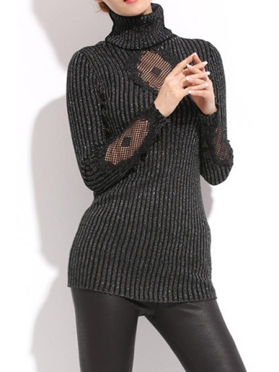 chic Turtle Neck Hollow Splicing Knitwear - BLACK ONE SIZE(FIT SIZE XS TO M)