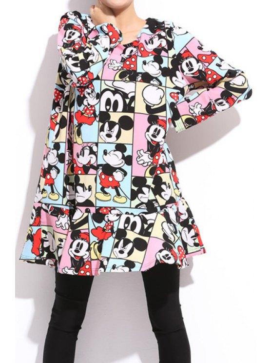 buy Character Print Ruffles Splicing Dress - COLORFUL 2XL
