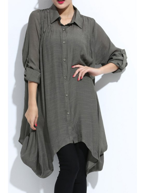 trendy Shirt Collar Solid Color Shirt - ARMY GREEN 2XL