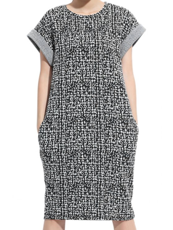 new Print Knit Short Sleeve Dress - WHITE AND BLACK L