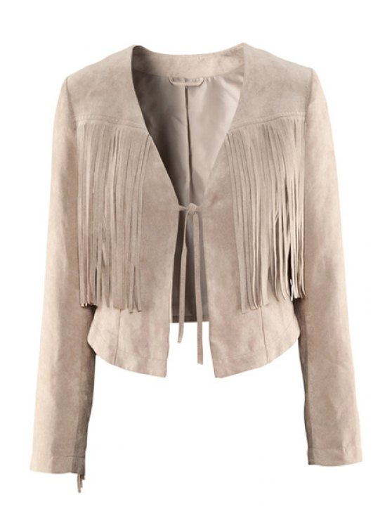 sale Solid Color Fringe Lace-Up Coat - OFF-WHITE XS