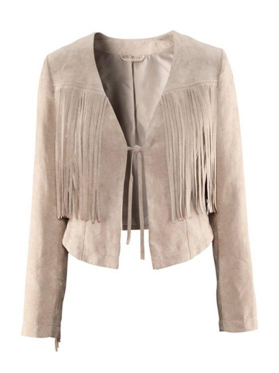 sale Solid Color Fringe Lace-Up Coat - OFF-WHITE XS