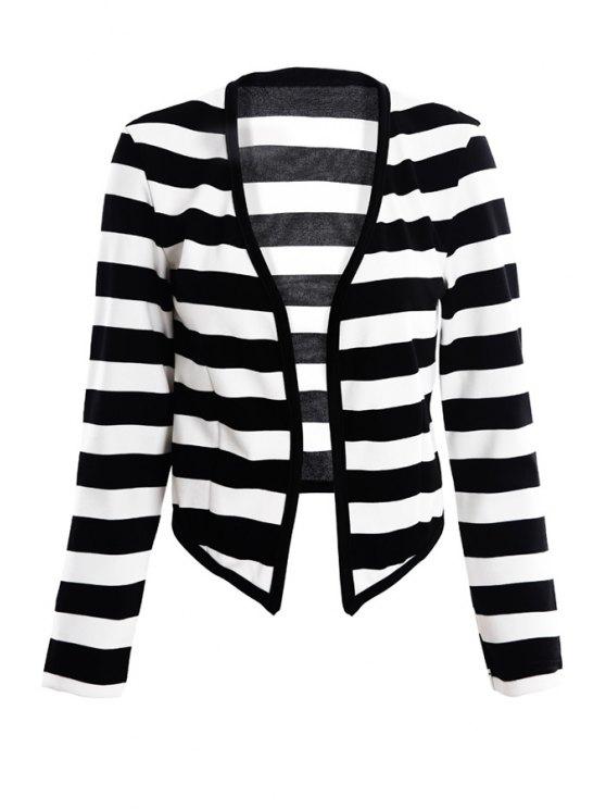 women's Striped Pattern Long Sleeve Blazer - STRIPE XS