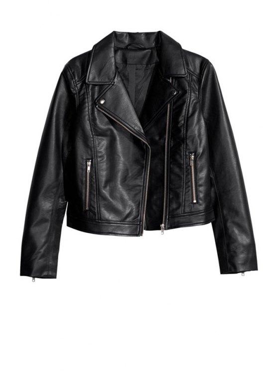 lady Skull Pattern PU Leather Jacket - BLACK XS