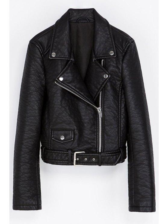 fancy Lapel PU Leather Zipper Jacket - BLACK XS