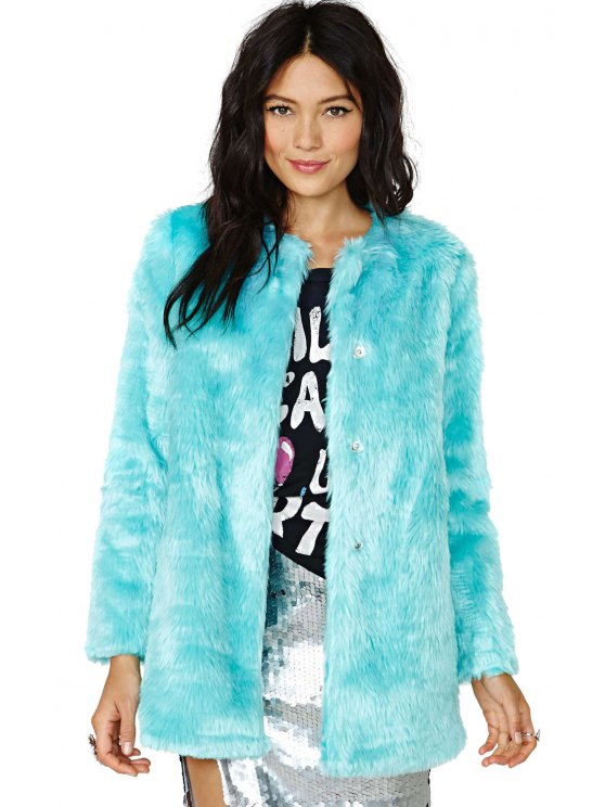 online Faux Fur Solid Color Coat - MINT GREEN XS