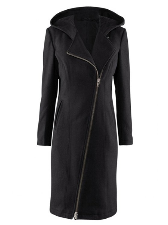 fancy Hooded Black Zipper Design Coat - BLACK XL