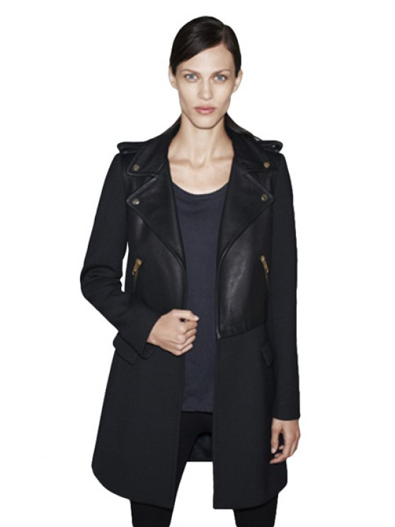 affordable PU Leather Worsted Lapel Coat - BLACK XS
