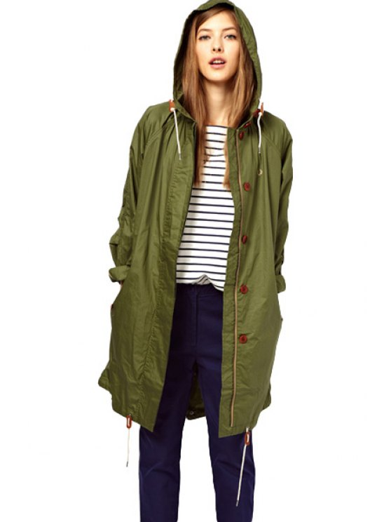 outfit Solid Color Hooded Trench Coat - ARMY GREEN XS