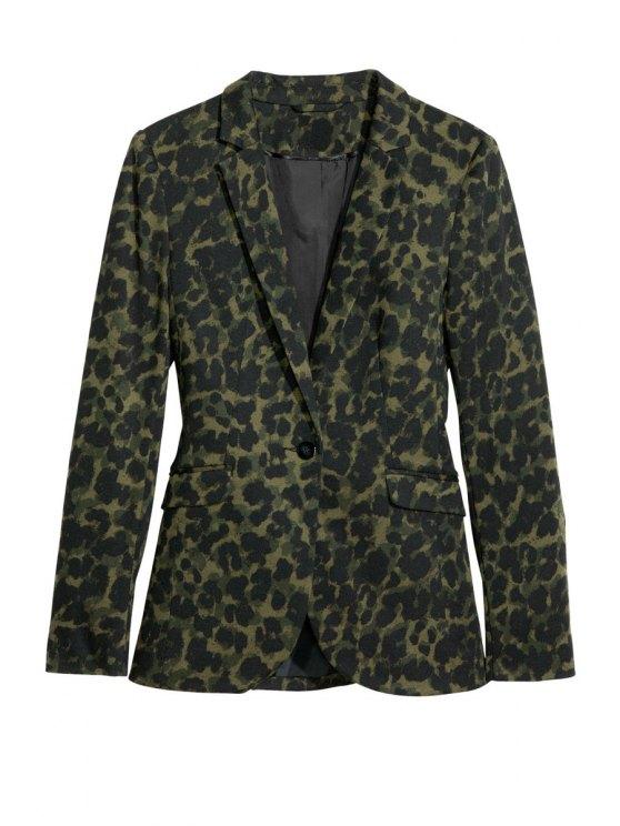 fashion Long Sleeve Leopard Print Blazer - LEOPARD M