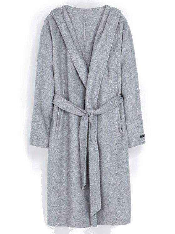 chic Hooded Solid Color with Belt Coat - GRAY XS
