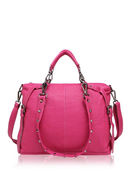 buy Belt Buckle Solid Color Tote Bag - ROSE MADDER