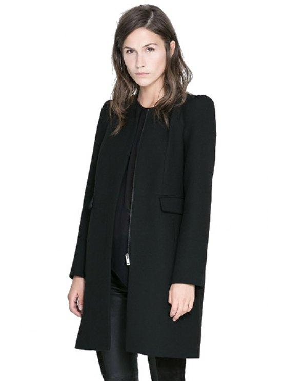 lady Black Round Collar Coat - BLACK XS